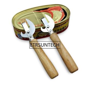100pcs/lot Multifunction Easy Manual Side Cut Metal Beer Bottle Opener Stainless Steel Wood Handle Can Opener Kitchen Tools