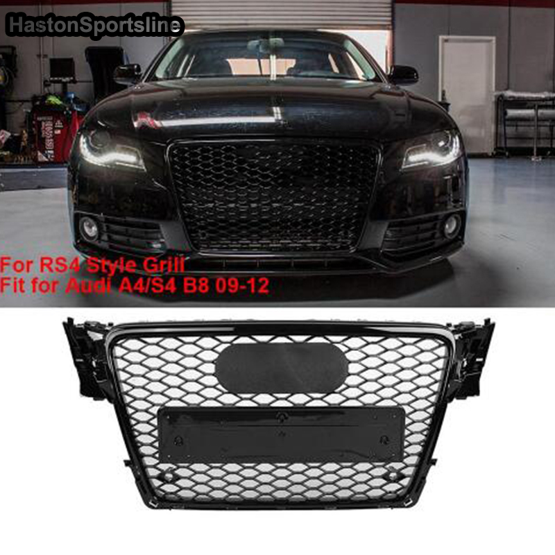 Car styling 2009 2012 A4 RS4 S4 Sline Black Emblem Front Bumper mesh Grill Grille For