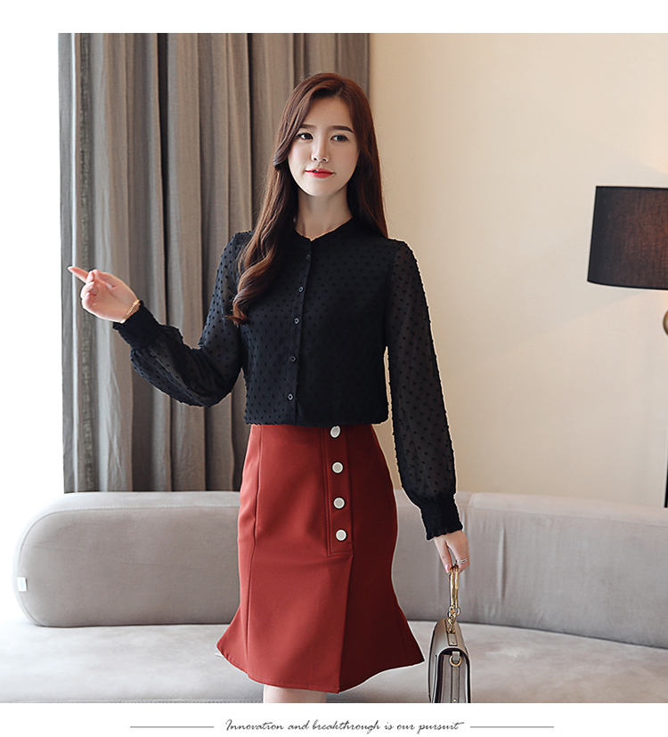 19 New arrived women shirt sweet female V collar wave point long-sleeved suntan women blouse Korean style OL blusa 0974 30 24