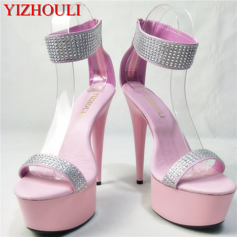 Genteel 15 Cm High With Pink Glass Slipper Dance Shoes Thick Bottom Waterproof Princess Sandals