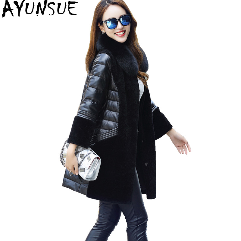 AYUNSUE 2019 Winter Genuine Leather Down Jacket Women Natural Fox Fur Collar Warm Real Wool Coat Female Plus Size 5XL 1603_3