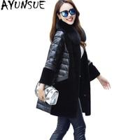AYUNSUE 2018 Winter Genuine Leather Down Jacket Women Natural Fox Fur Collar Warm Real Wool Coat Female Plus Size 5XL WYQ1707