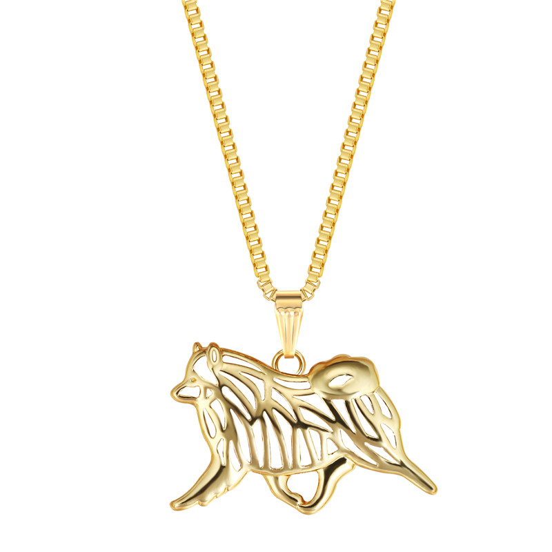 Keeshond Dog Pendant Gold Color Animal Necklace For Pet Lovers