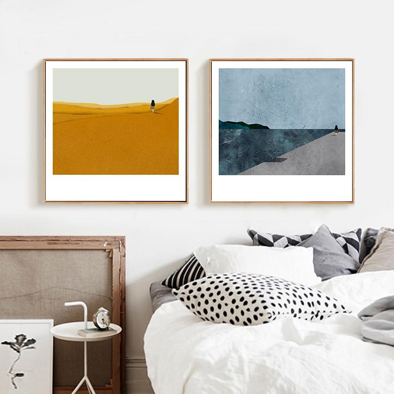 Скандинавский Абстрактный пейзаж, Картина на холсте для девочек, скандинавские постеры и принты, настенные картины для гостиной, домашний декор