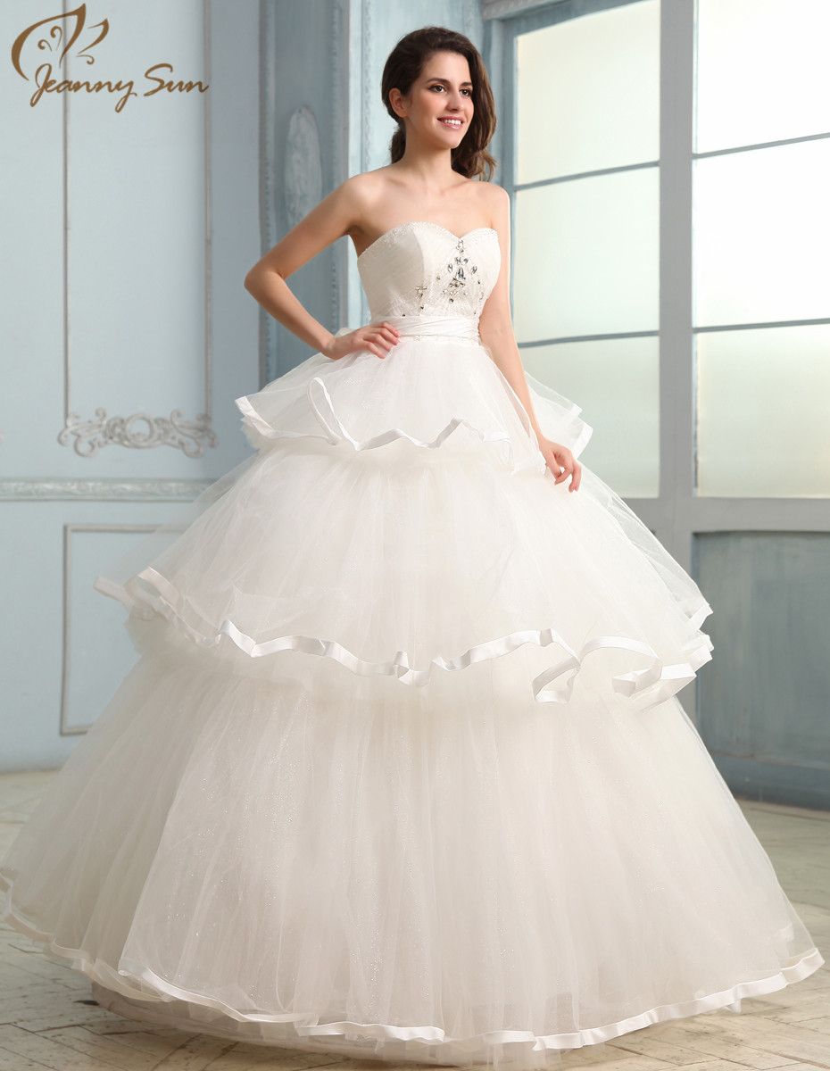 Jeanny Sun New Amazing White Ball Gown Wedding Dresses 2016 Bride ...