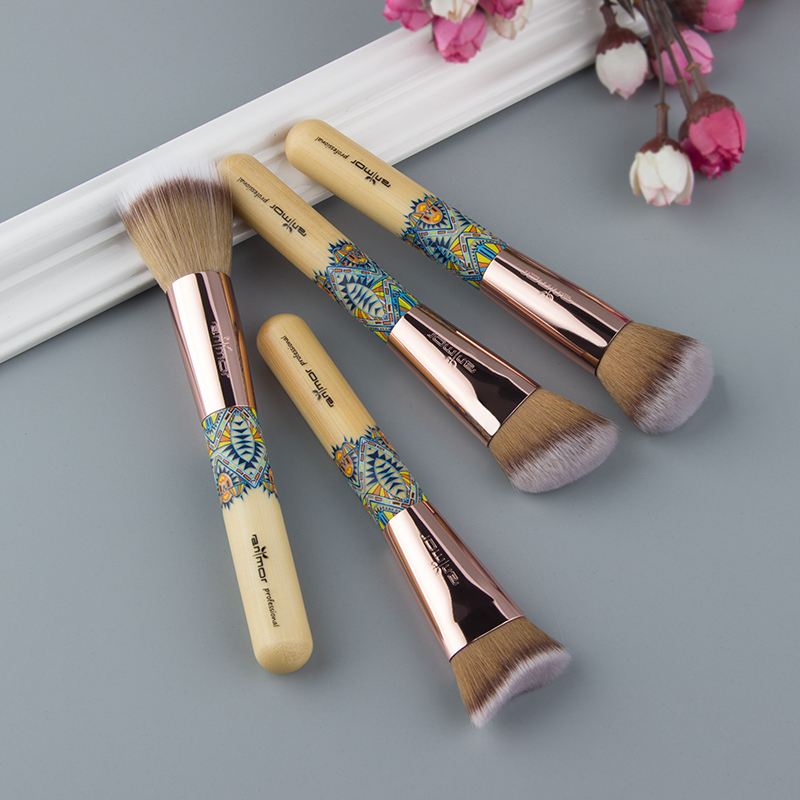 US $8 72 30% OFF Anomor 4PCS Colored Handle Mini Size Makeup Brush Unique  Wood Material Professional Make Up Brushes Tools With Sponge -in Eye Shadow