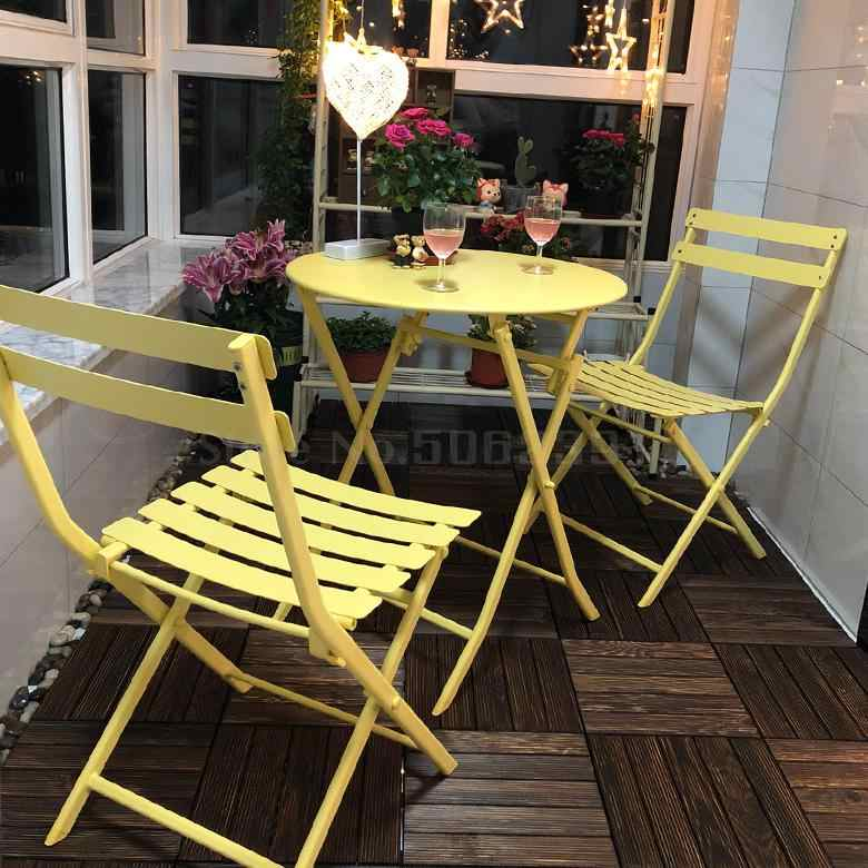 Balcony table and chair three piece outdoor garden wrought iron ...