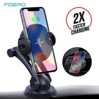 FDGAO Wireless Car Charger 15W Automatic Clamping Glass Qi Fast Charging Holder for Xiaomi Mi 9 iPhone X XS XR 8 Samsung S10 S9