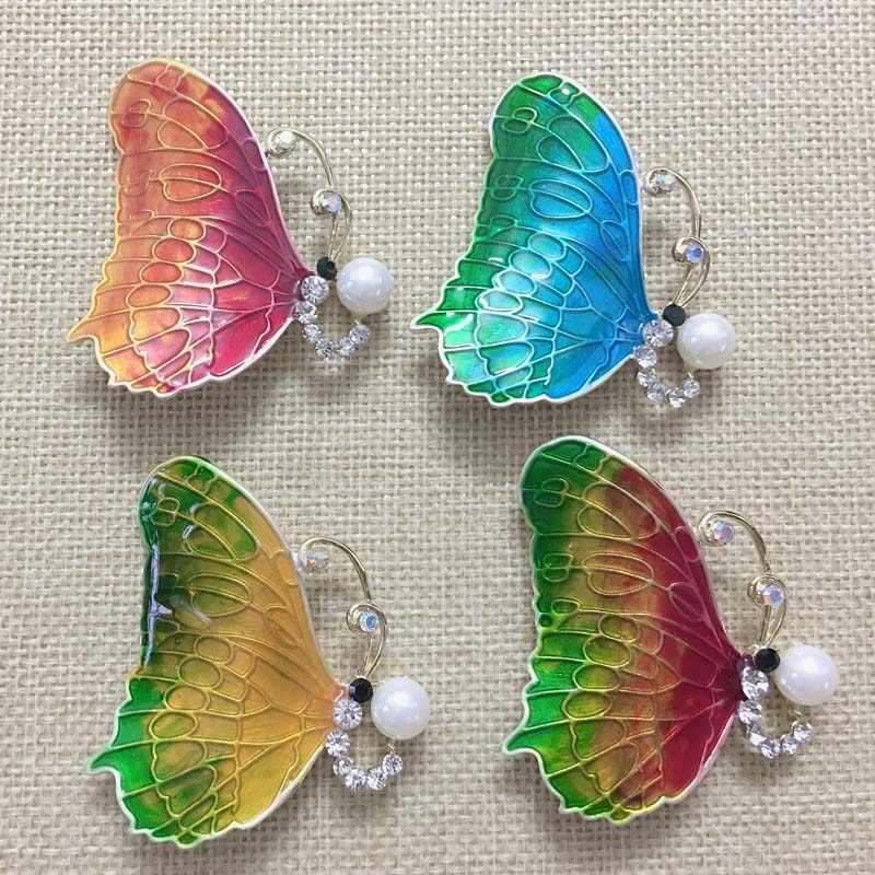 Zlxgirl Indah Yang Bagus Biru Merah Colorful Enamel Kupu-kupu Hijab Pin Bros Perhiasan Warna-warni Wanita Syal Pin Tas dan Topi bijoux