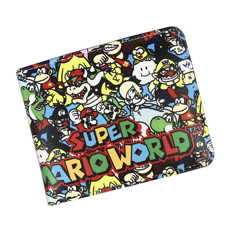 Super Mario World Wallet Leather Folded Purse Cartoon Creative Gift Bags carteira mascul ...