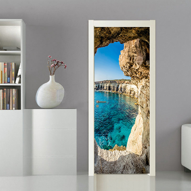 Photo Wallpaper 3D Stereo Cave Seascape Mural Modern Creative DIY Door Wall Sticker Living Room Dining Room Home Decor PVC Mural custom photo wallpaper 3d stereoscopic cave seascape sunrise tv background modern mural wallpaper living room bedroom wall art