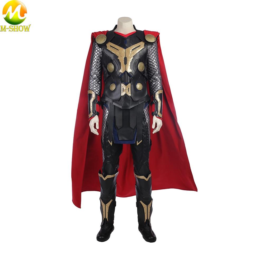 Movie Thor The Dark World Cosplay Costume Superhero Thor Cosplay Halloween Costume Vest Top Cloak Pants Custom Made