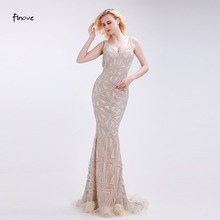 Finove Champagne Evening Dresses Stunning Beading Sexy Deep V-Neck Backless 2016 New Mermaid Floor-Length Sweep Train Dresses