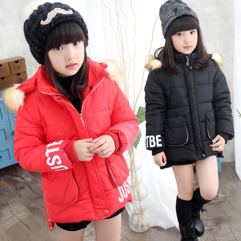 ФОТО The New 2016 Lovely Child Cotton-padded Jacket Girls Winter Jackets Children Stand Cotton Baby Clothes