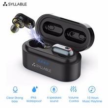 Syllable s101 fone de ouvido wireless, fone de ouvido esportivo com 4 tws, som e bluetooth de qcc3020, com chip e cancelamento de ruído
