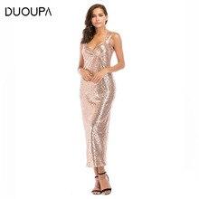 все цены на DUOUPA Women Summer Dress 2019 Sexy Bodycon V-Neck Sleeveless Club Party Dress Vintage Elegant Sequin Maxi Long Dress Vestidos