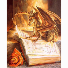 Dragon book rose diamond Embroidery diy painting mosaic diamant 3d cross stitch pictures H642