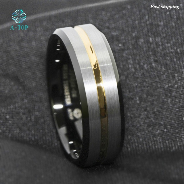 Atop 8mm Men S Wedding Band Silver Brushed Black Edge Tungsten Ring Gold Inlay Free Shipping