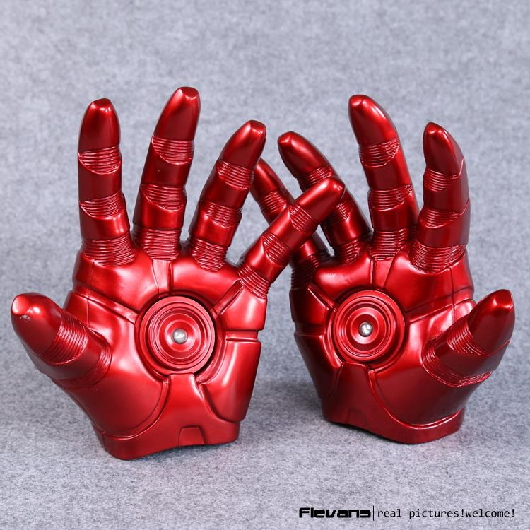 Iron Man Gloves with LED Light PVC Action Figures Collectible Model Toy 8 20cm