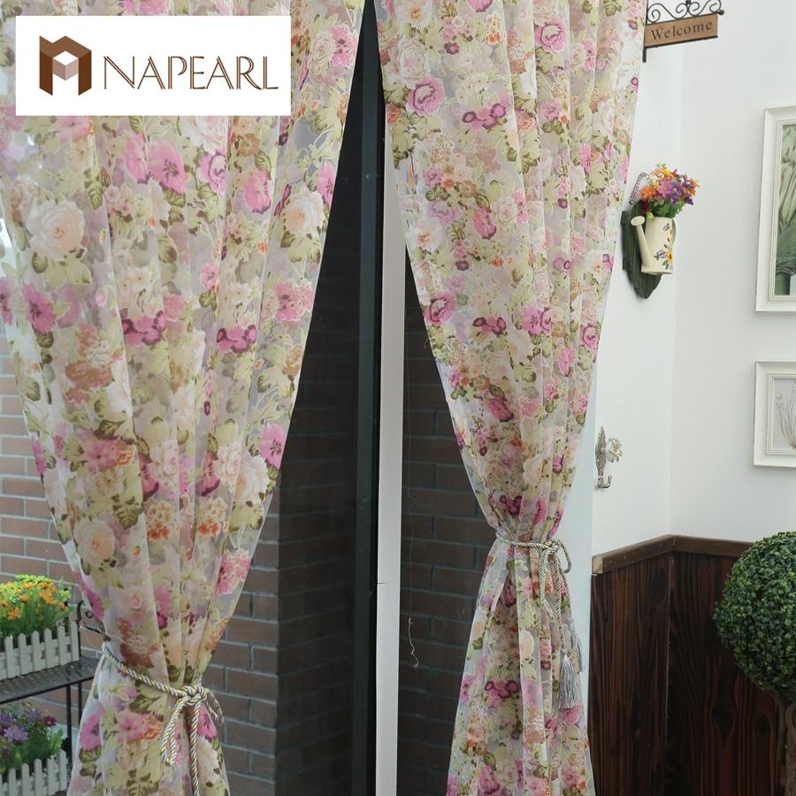 floral design lavabile tulle tessuti per tende bella pura pannello stile country americano tenda della finestra