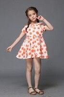 Groothandel Zomer kinderkleding prinses oranje stipdruk kinderen strand jurk zuigeling formele party meisje mode jurk