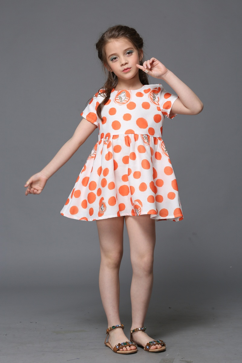 wholesale Summer kids clothing princess orange polka dot print dress children beach dress infant formal party girl fashion dress tie back leaf tribal print beach dress
