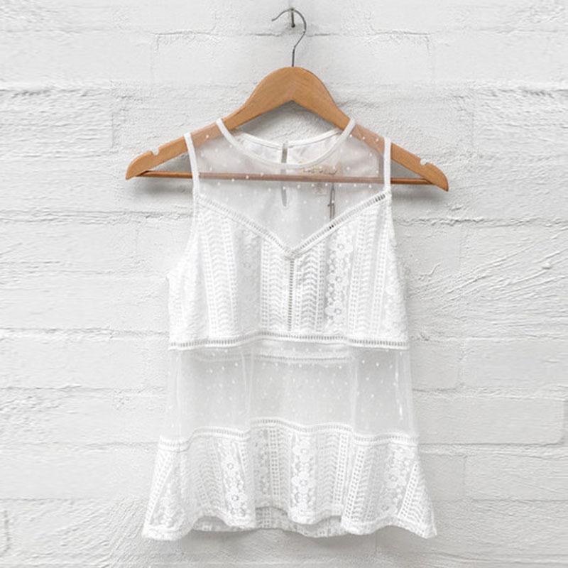 Au Femmes White Blanc Blouse Travers Dentelle Manches Patchwork Sexy Pop Voir Féminin D'été Plus Évider La Beachwear Tops Taille Shirt Sans rrHwxq1v
