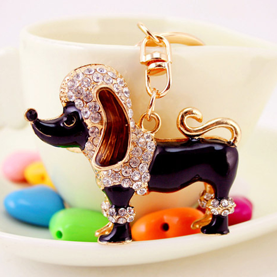 Chaveiro!Creative Trinket Charm Rhinestone Poodle Key Chain Novelty Alloy Animal Bag Keyring Car Keyfobs Friends Gift R043