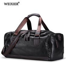 WEIXIER Large-Capacity Casual Mens PU Multi-Function Fashion Travel Handbag Designer Handsome Long-Distance Package