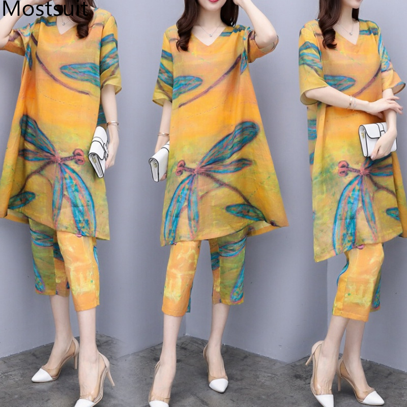 2019 Summer Chiffon Printed Two Piece Sets Outfits Women Plus Size Short Sleeve Long Tops And Cropped Pants Vintage Elgant Suits