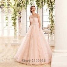 Luxury Vestido De Noivas Light Pink Backless Robe Mariage Crystal Beads Vestido De Noiva Boho Brush Train Hijab Wedding Dress
