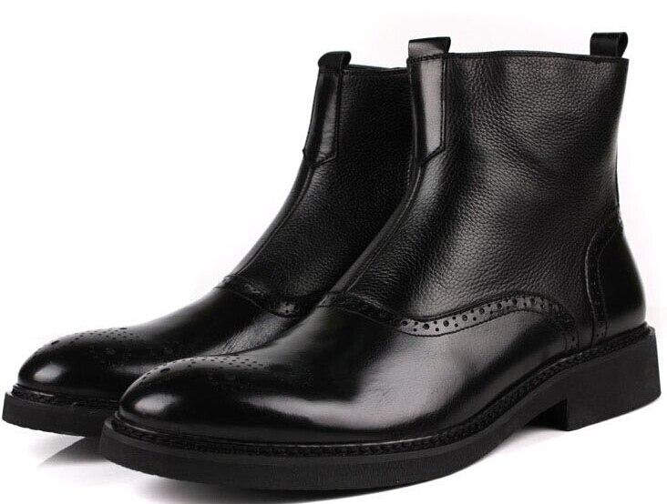 Fashion Brown tan / Black mens ankle boots genuine leather boots mens winter shoes outdoor kiniki sancho mens tan through swim micro mens
