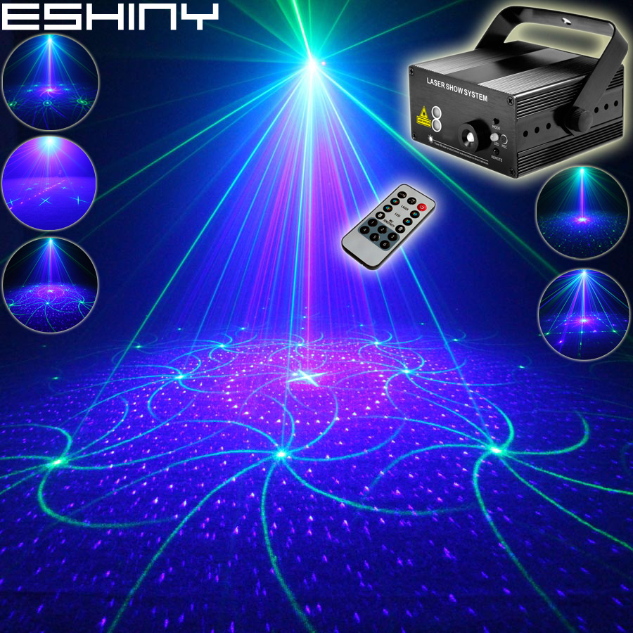 ESHINY Mini Green Blue Laser 16 รูปแบบโปรเจคเตอร์ Remote Blue Led DJ Dance Disco วันหยุดครอบครัว Party Stage Effect Light t197-ใน เอฟเฟกต์แสงบนเวที จาก ไฟและระบบไฟ บน ESHINY Official Store
