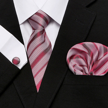 Necktie Handkerchief Set Hanky Cufflinks Tie For Men Fashion Pocket Square Classic Party Wedding striped 7.5cm