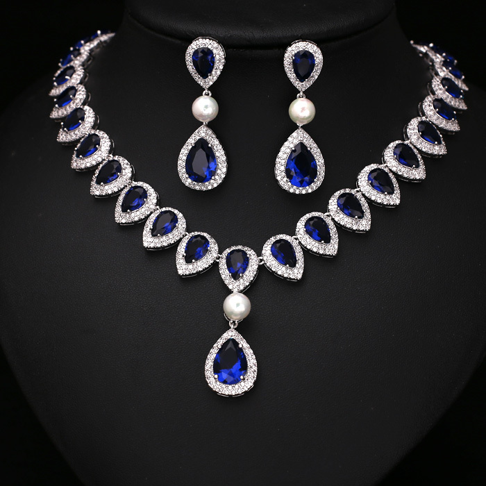 Fashion Royal Blue Arrow Heart With Square Shape CZ Crystal and Pearl Jewelry Sets For Wedding  Necklace earring set JC352649SFashion Royal Blue Arrow Heart With Square Shape CZ Crystal and Pearl Jewelry Sets For Wedding  Necklace earring set JC352649S