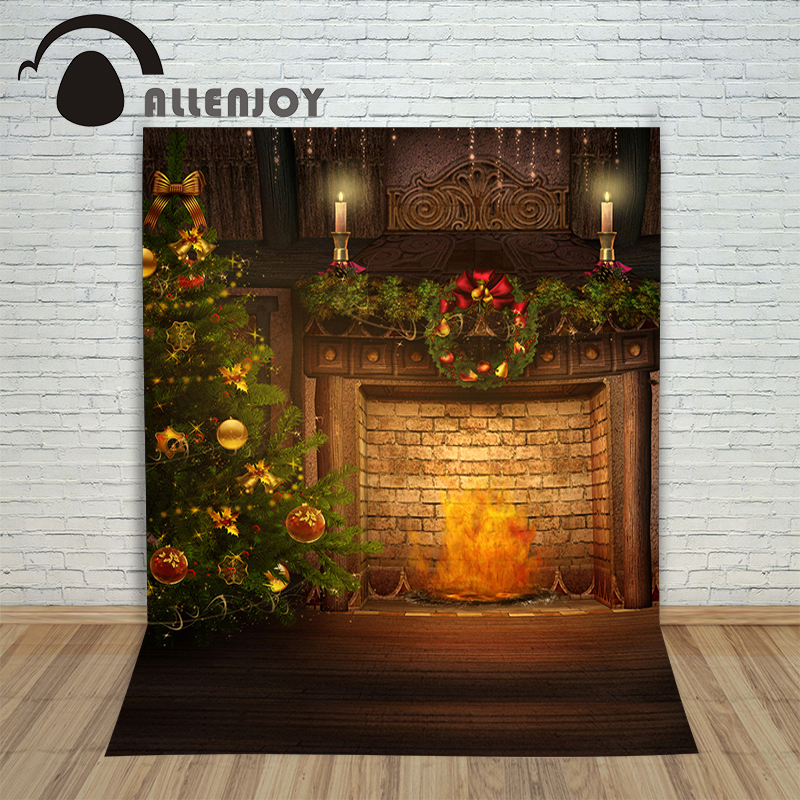Allenjoy Vinyl photo studio Background Christmas fireplace with fire tree backdrop picture children's photocall allenjoy vinyl photo studio background wooden river landscape stone backdrop picture children s photocall