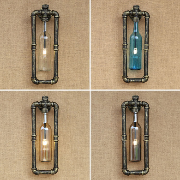American Loft Style Wall Lamp Glass Bottle Lampshade Wall Sconces Bedside Light Fixtures For Home Lighting Indoor Bar Cafe nordic vintage loft style wall lamp glass wood rocker bedside light fixtures for alise bar cafe indoor home lighting luminaire