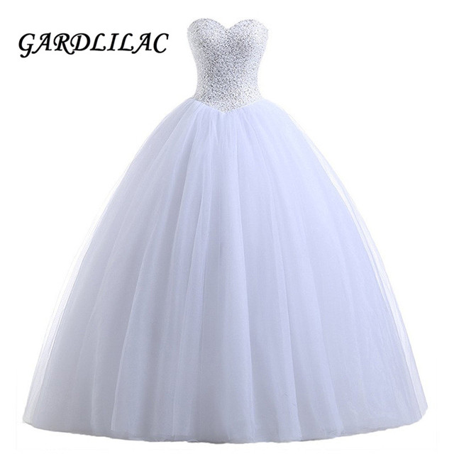 4abdbfe47a36 Ball Gown White Quinceanera Dresses 2019 Vestido de debutante Tulle Beaded  Prom Dress Bridal Gown vestidos de 15 anos sweet 16