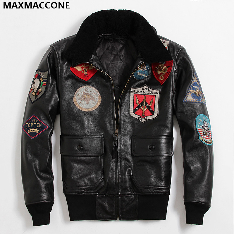 2019 Men Black TOP GUN Leather Pilot Jacket Wool Collar Real Thick Cowhide Europe Size XXL Russian Pilot Coat Can Customized