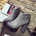 Caída y winter2016 nueva grueso con zapatos impermeables zapatos de trabajo boca baja femenina cremallera zapatos de las mujeres botas de tacón alto de la boda