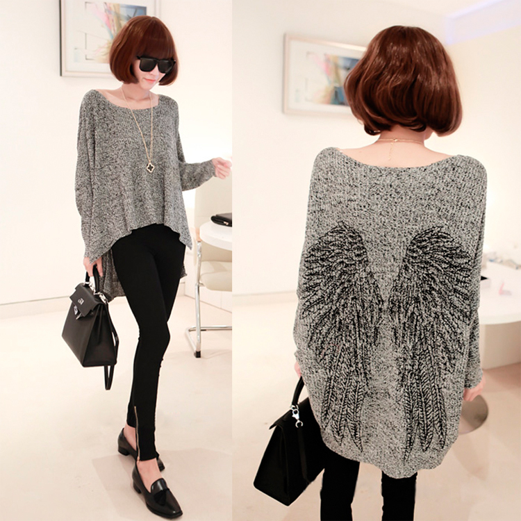 New 2014 European Style Women Fashion Wings Patterns Loose Short ...