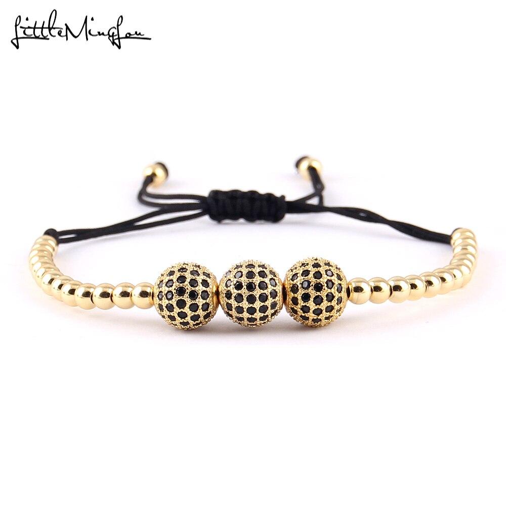 Little MingLou Men Luxury bracelet 5 Black CZ Ball Connector & 4mm Round Beads Bracelets & Bangles Braided Macrame women Jewelry ...