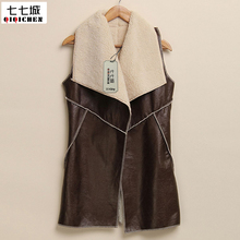 Faux Fur Waistcoats Women Fashion Leisure Warm Faux Fur Collar Long Leather Waistcoat Coat Vest Outerwear Casual Jacket