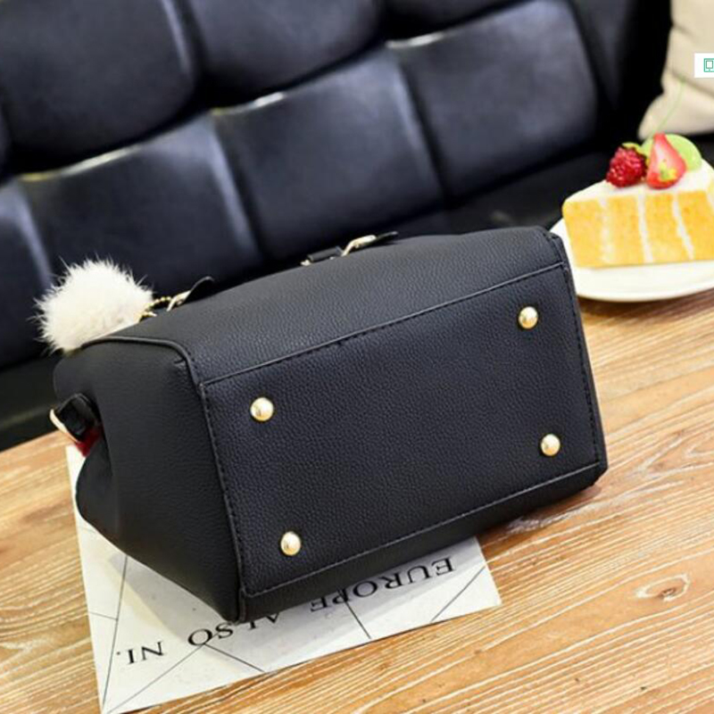 Image 4 - Fashion women hairball ornaments totes solid high quality handbag hotsale party purse ladies messenger crossbody shoulder bags-in Shoulder Bags from Luggage & Bags