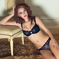 10374-6 Моды прозрачной сексуальный комплект бюстгальтер плюс размер Женщины марлевые вышивка ультратонкий темно-синий нижнее белье кружева