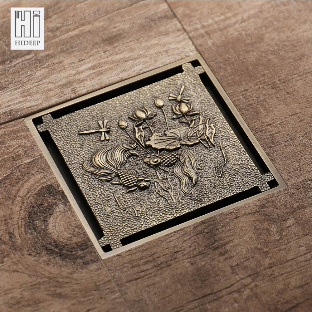 HIDEEP Antique Bronze Shower Drain Fish&Lotus Pattern Brass Cover Carved Art Shower Room Drains Classic Bathroom Copper Shower трос буксировочный zeus zt402