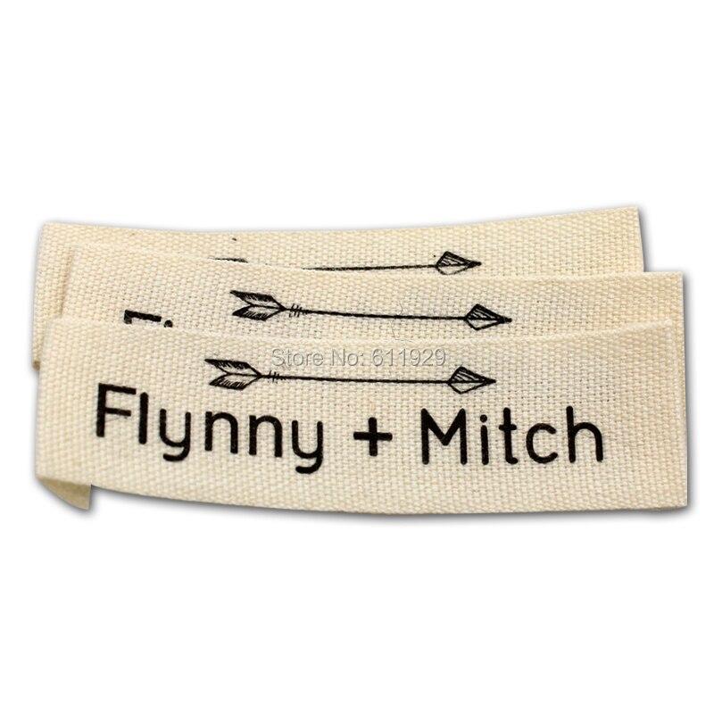 O envio gratuito de vestuário personalizado impressão de fita de algodão etiqueta com cut & end fold/tag/vestuário etiquetas impressas algodão/colar etiqueta