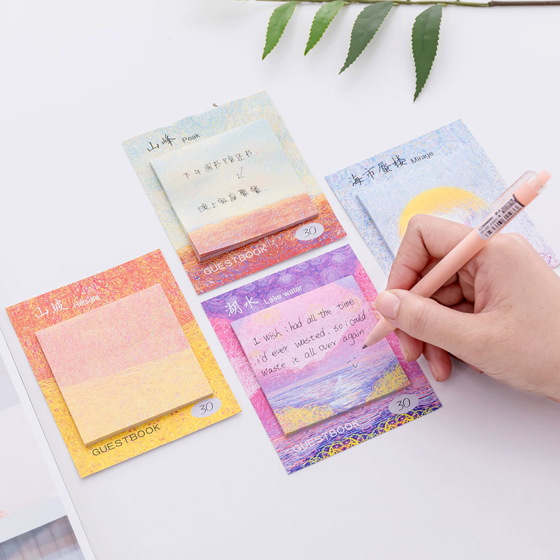 4 pcs Color painting memo pad Oil drawing sticky note Mirage Peak laker hillside post Guestbook Office School supplies F962