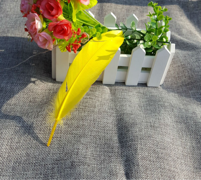 Wholesale New Goose Feathers,100pcs/lot gold yellow Goose Loose Feathers,Goose Craft Feathers,13-18cm Fee Shipping
