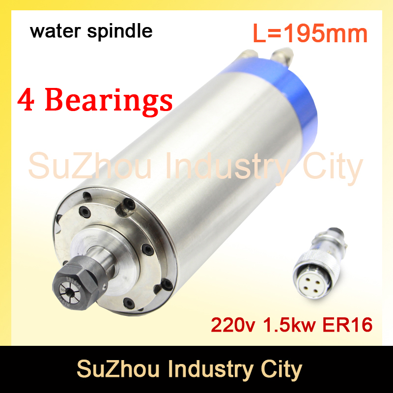 Sale! 1.5KW ER16  220V CNC Water Cooled spindle motor Bule Type Water-Cooled Spindle 220VAC 7A 80x195mm 4 Bearings water cooling 1pcs 71901 71901cd p4 7901 12x24x6 mochu thin walled miniature angular contact bearings speed spindle bearings cnc abec 7